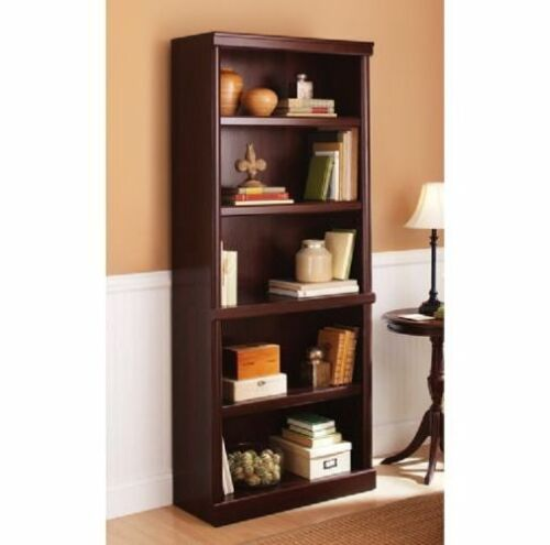 NEW 5 Shelf Cherry Bookcase Wooden Book Case Storage Shelves Wood Bookshelf