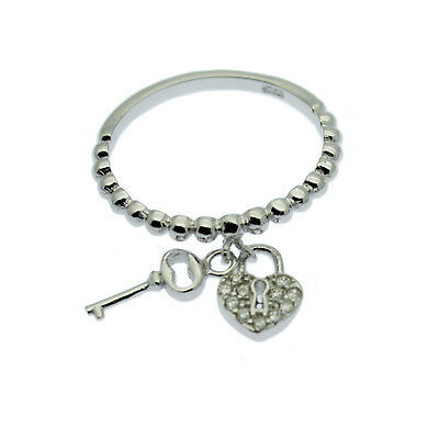 Sterling Silver Charm Ring Pave Inlaid Heart & Key Charms Ring Sizes P & N