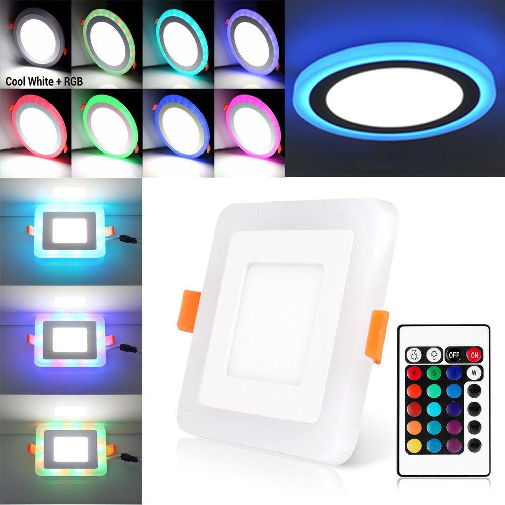 Ultra Delgado Panel LED de Color dual luz empotrada de techo abajo Cuadrado rojoondo Controlador