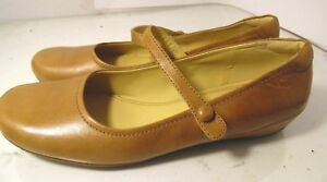 ECCO-Brown-Leather-Mary-Janes-Flats-Womens-Size-40