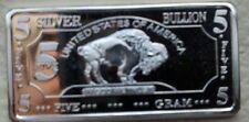 5 Gram Silver Bullion Bar Buffalo Series LCG