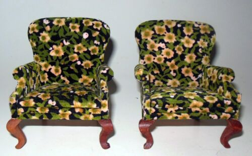 2 HIGH BACK VICTORIAN CHAIRS VINTAGE 9048B DOLL HOUSE FURNITURE MINIATURES