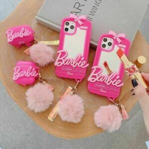 Barbie Fuchsia Bow Mirror Phone Case for iPhone 12 11 Pro Max XR AirPods 1 2 Pro