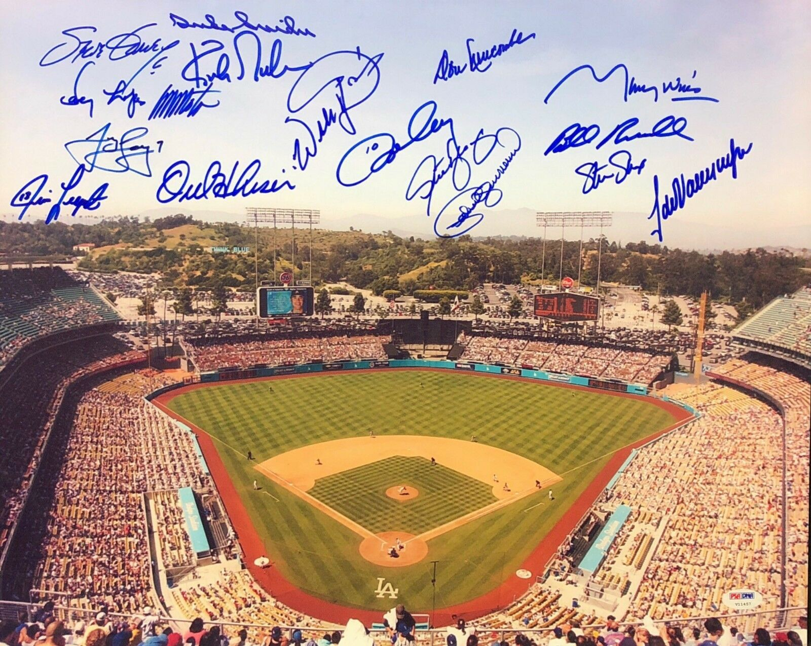 Hershiser/Valenzuela/Newcombe/Garvey/Cey/Gibson Signed Dodgers 16x20 Photo PSA