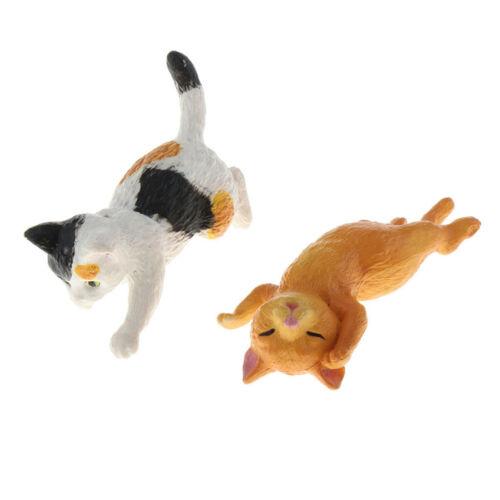 1:12th Scale White /& Orange Cat Doll House Miniature Cats Pets Animals Decor
