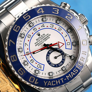 Rolex-Yacht-Master-II-116680-White-Dial-Automatic-44mm-Men-039-s-Watch