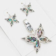 Butterfly Pendant Earrings SET Texture Metal SILVER ABALONE SHELL Beach Jewelry