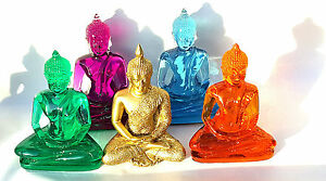 LARGE-Buddha-Statue-handmolded-in-coloured-resin-Blue-Purple-Safron-Jade-15cm