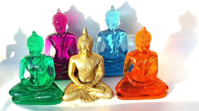 LARGE Buddha Statue handmolded in coloured resin. Blue, Purple,Safron, Jade 15cm