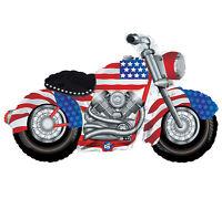 Patriotic Motorcycle Balloon 47x27 Harley Birthday Party Decoration Mylar Flag