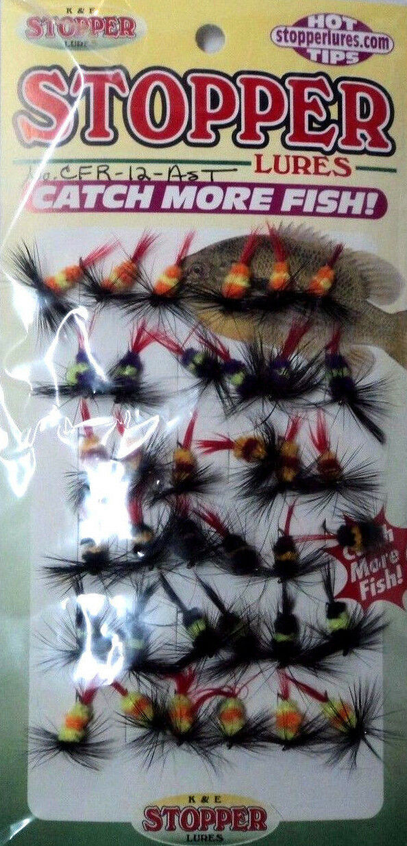 K & E Assorted Ring Fly Gnat Panfish Lures- 36 Flies- Size 12 Hook-  CFR-12-AST