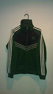 16c5a9fbe322 Image is loading adidas-Originals-Trefoil-Vintage-Green-Black-Full-Zip-