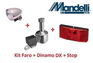 Kit Faro Cromato Stop per bici 20-24-26 Graziella Dinamo DX in Alluminio