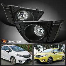 For 2015-2016 Honda Fit Clear Lens Driving Bumper Fog Lights Lamp w/Bulbs+Switch