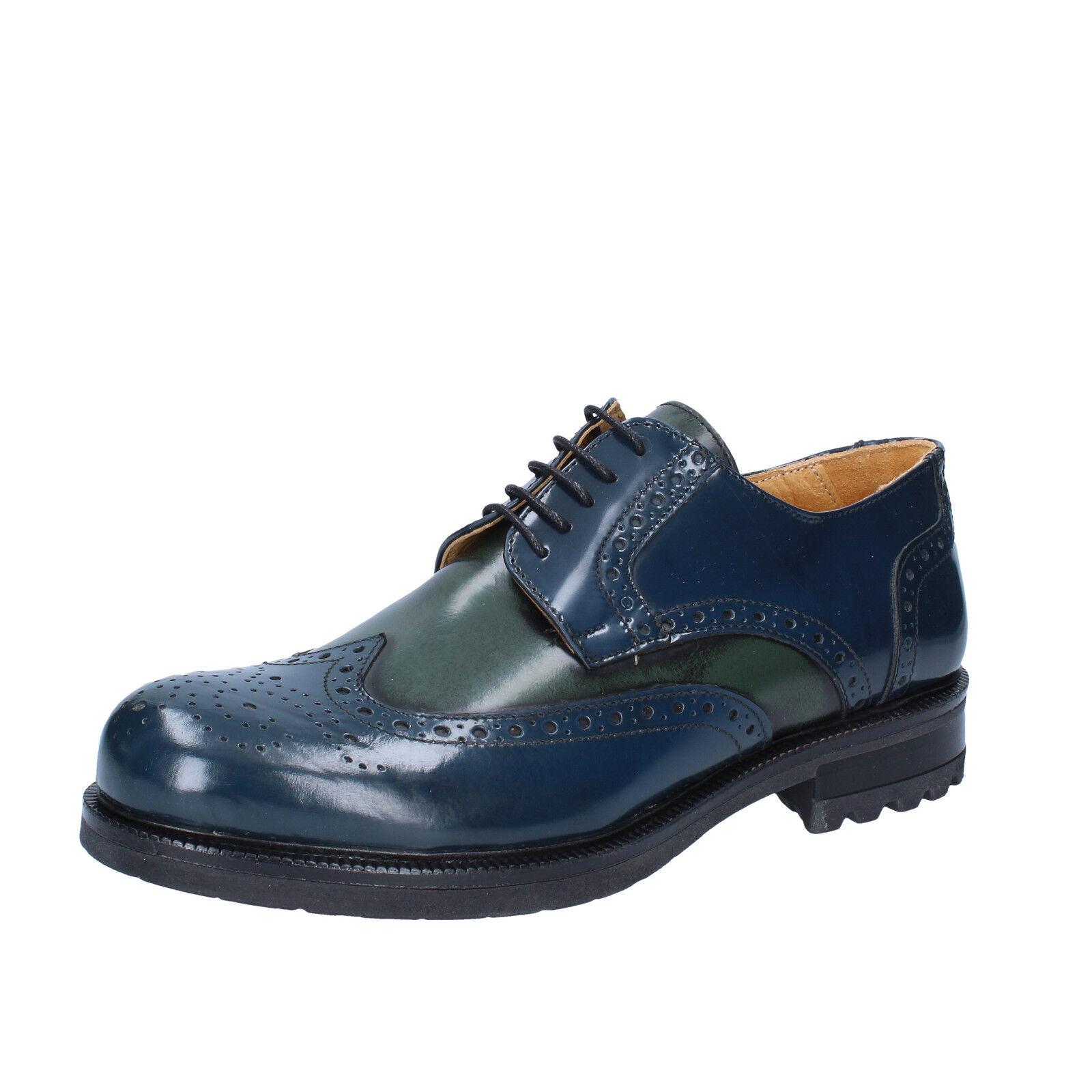 Herren schuhe SALVO BARONE 42 EU elegante blau Grün Glänzende Haut BZ179-D