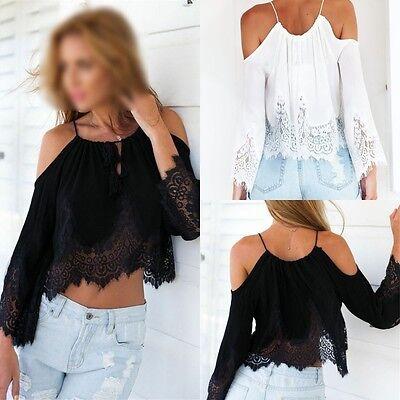 Hot!Sexy Women Lace Off Shoulder Shirt Summer Casual Boho Crop Tank Tops Blouse