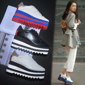 Womens-Creppers-oxford-Leather-Shoes-Lace-Up-Sneakers-High-Wedge-Heel-Platform