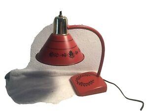 Vintage-MCM-RED-GOOSE-NECK-desk-lamp-Light-With-Black-Designs-WORKING