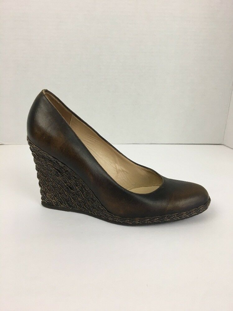 Bruno Magli Womens shoes 7 Brown Leather Braided Wedge Round Toe Made in