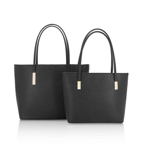 Ladies Twin Faux Leather Handbag 2 Bucket Shoulder Bag Evening Handbag GF16128