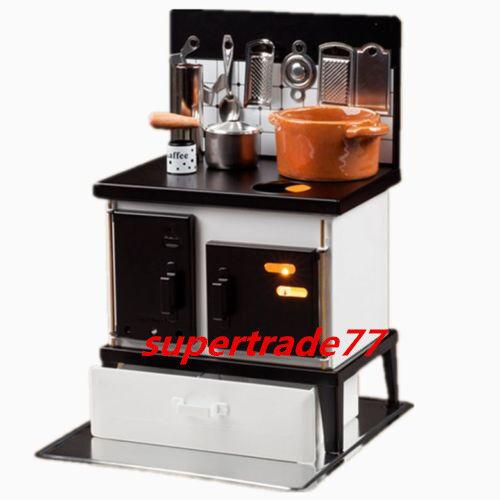 ミニチュアコック金属ストーブ&小さなキッチンミニ調理器具12日クリスマスギフトギフト