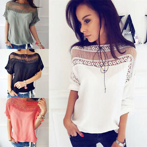 9819125a156157 Women Summer Short Sleeve Blouse Tops Ladies Floral Loose T Shirt ...