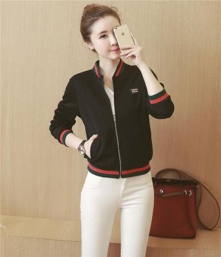 Korean Womens Zipper Jacket Casual Slim Short Coat Baseball Sports Outwear Tops