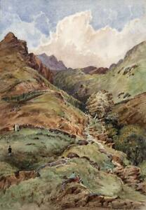 DUNGEON-GHYLL-FORCE-WATERFALL-LAKE-DISTRICT-Watercolour-Painting-19TH-CENTURY