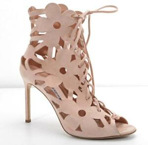 084542ca07 MANOLO BLAHNIK Pink Laser-Cut Suede Floral Bootie Open-Toe Lace-Up ...