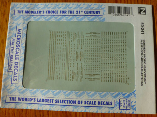 1920-19 Microscale Decal N  #60-241 Southern Pacific Heavyweight Passenger Cars