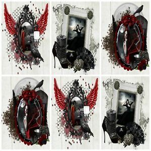 GOTHIC-WINGS-Embellishments-12-Card-Making-Toppers-Card-Toppers