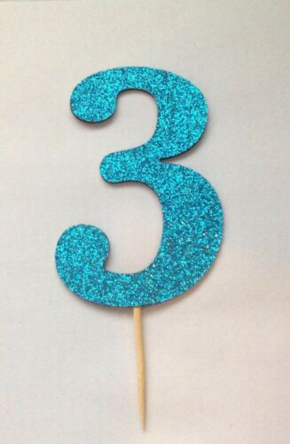 now available in many colours DOUBLE SIDED Glitter Number 0-9 cake topper