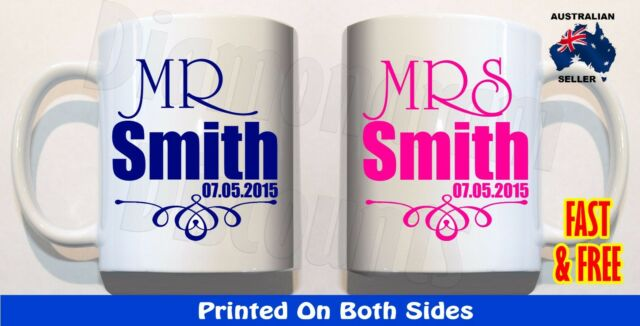 PERSONALISED Mr & Mrs YOUR NAME DATE Set 2 Coffee Mugs Anniversary Wedding Gift