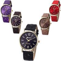 Fashion Women Geneva Quartz Stainless Steel Leather Analog Ladies Wrist Watches