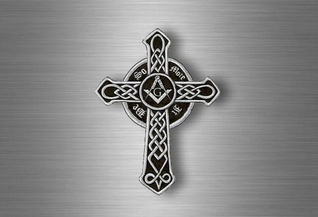 Sticker Car Biker Motorcycle Celtic Cross Masonic Square Compass