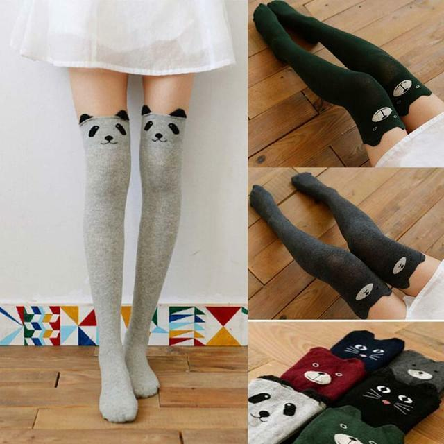 Women Trendy 3D Lovely Cartoon Animal Thigh Stockings Over High Long Socks uf