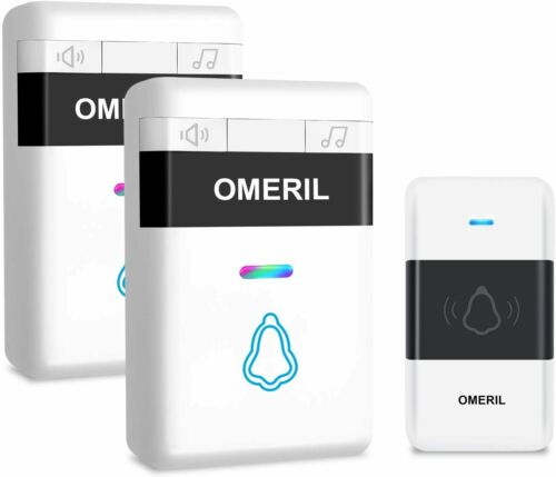 OMERIL Loud Wireless Doorbell with 5 Level Volume Mute Mode 300M R Door Bell