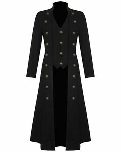 Men's Steampunk Military TRENCH COAT Long Jacket Black Gothic | eBay