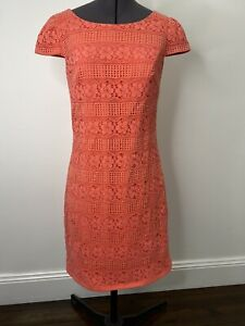 Review Pink Fitted Lace Dress Cap Sleeve Size 8 EUC