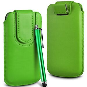 Green-Magnetic-PU-Leather-Pull-Tab-Flip-Case-Cover-amp-Stylus-for-Mobile-Phones
