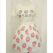 Girls Summer Day Lolita Kawaii Sweet Strawberry Costume T-shirt tops + Skirt New