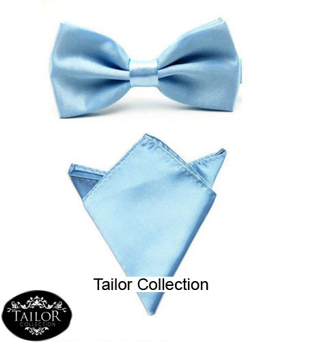 Brand New Mens Pre tied Bow Tie /& Matching Handkerchief Hanky Set Party Gift Tux