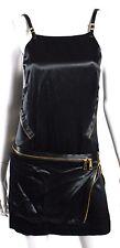 BARBARA BUI Black Satin & Patent Leather Zip Detail Shift Dress 38