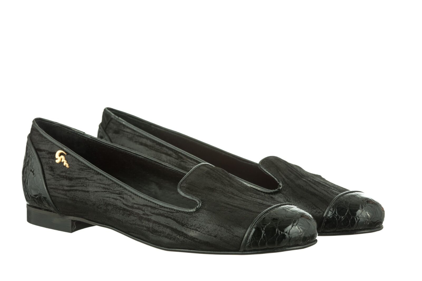 MORI MADE IN ITALY SLIP ON FLATS SCHUHE SHOES BALLERINA LEATHER NERO BLACK 44