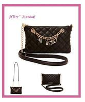 Betsey Johnson Give Me A 'b' Quilted Bag Black Bj57400h $78