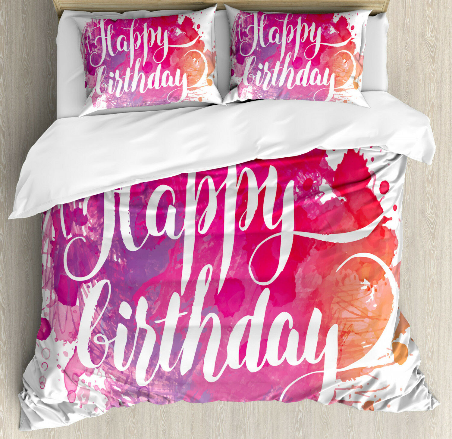 Art Duvet Cover Set with Pillow Shams Watercolor Birthday Text Print