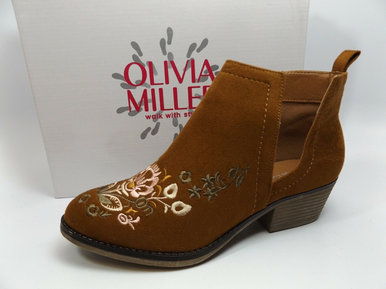 Olivia Miller pinkwood Embroidered Faux Suede Booties Womens SZ 8.5 M BROWN 8901