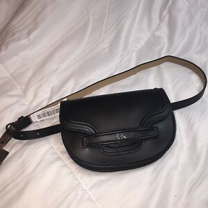 9410a5fba67c Image is loading NWT-MICHAEL-MICHAEL-KORS-BOMBE-BLACK-LEATHER-BELT-