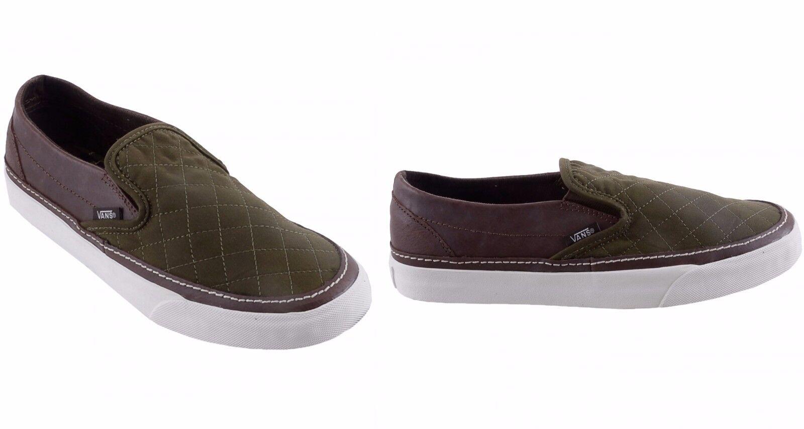 VANS CLASSIC SLIP-ON Unisex Sneakers Sportschuhe Canvas, Grün-Braun, EU 36.5, 37