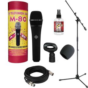 New Telefunken M80 Dynamic Microphone Black + 20ft XLR Cable + Mic Boom Standds